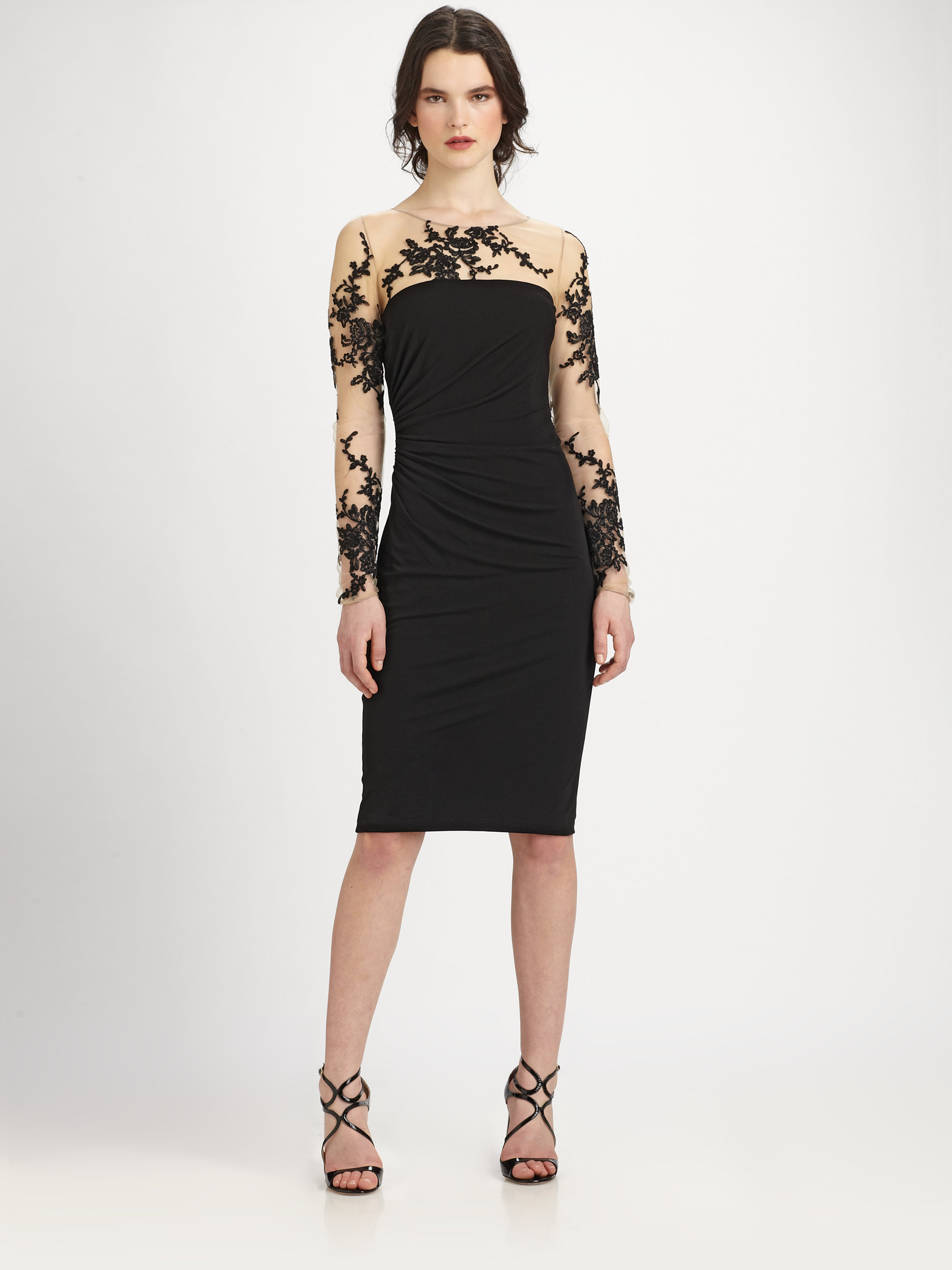 David Meister Embroidered Illusion Dress In Black Lyst