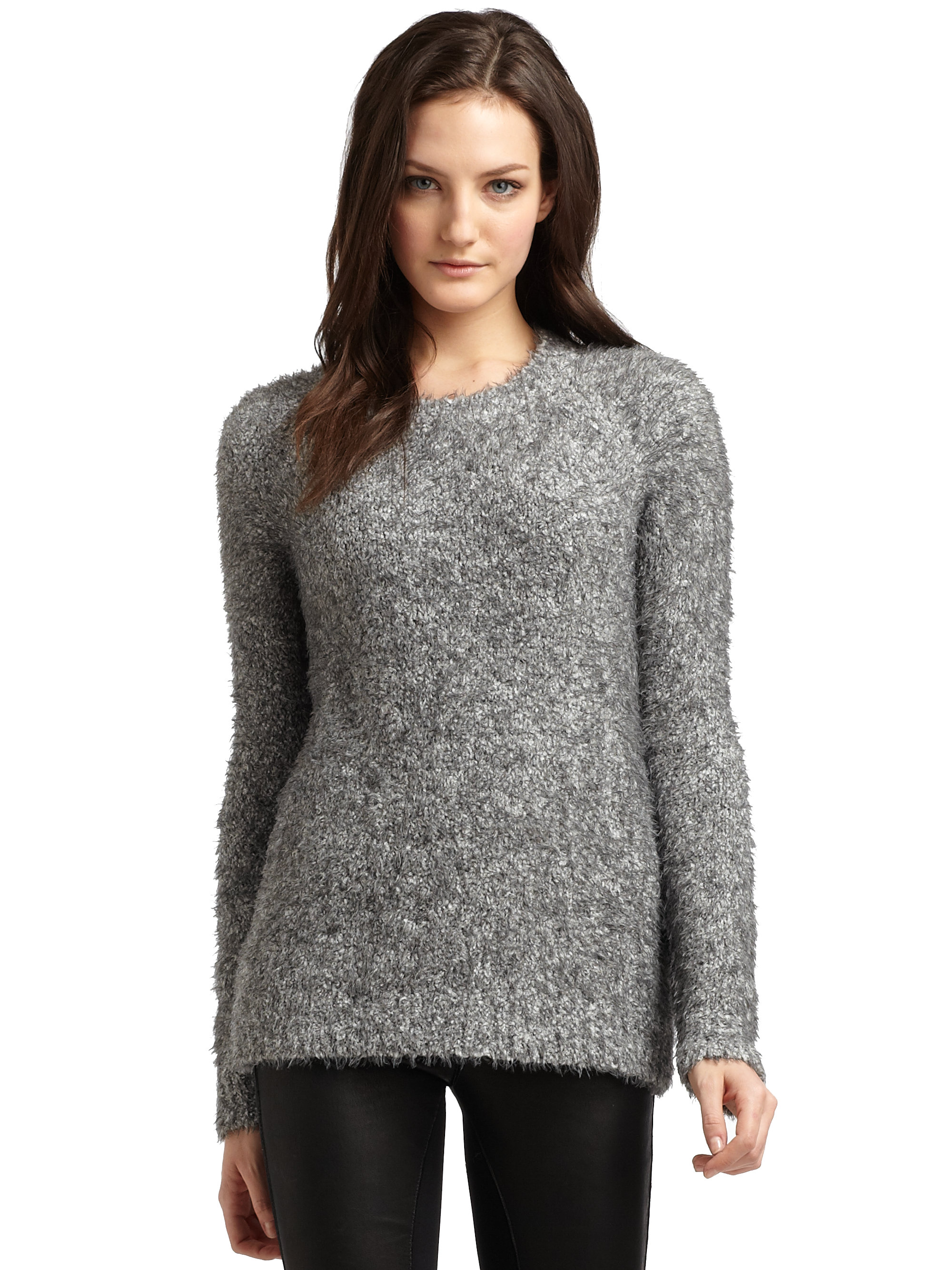 Elizabeth and james Fuzzy Raglansleeve Tunic Sweater in Gray | Lyst
