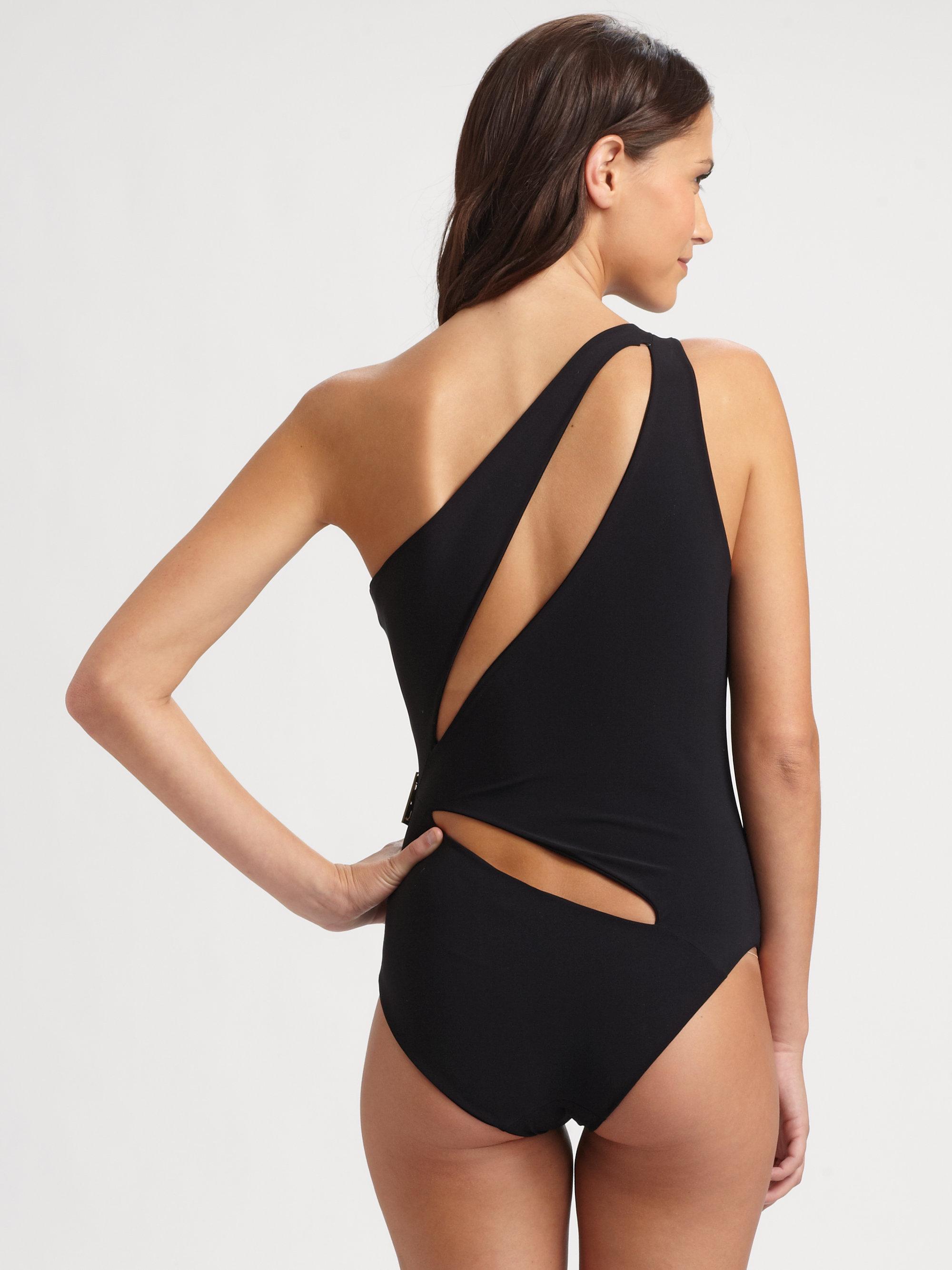lyst emilio pucci one piece cutout swimsuit in black