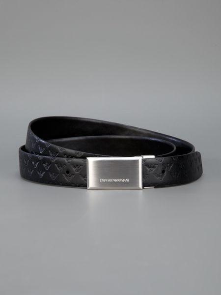 Emporio Armani Brand Embossed Buckle Belt in Black for Men ...
