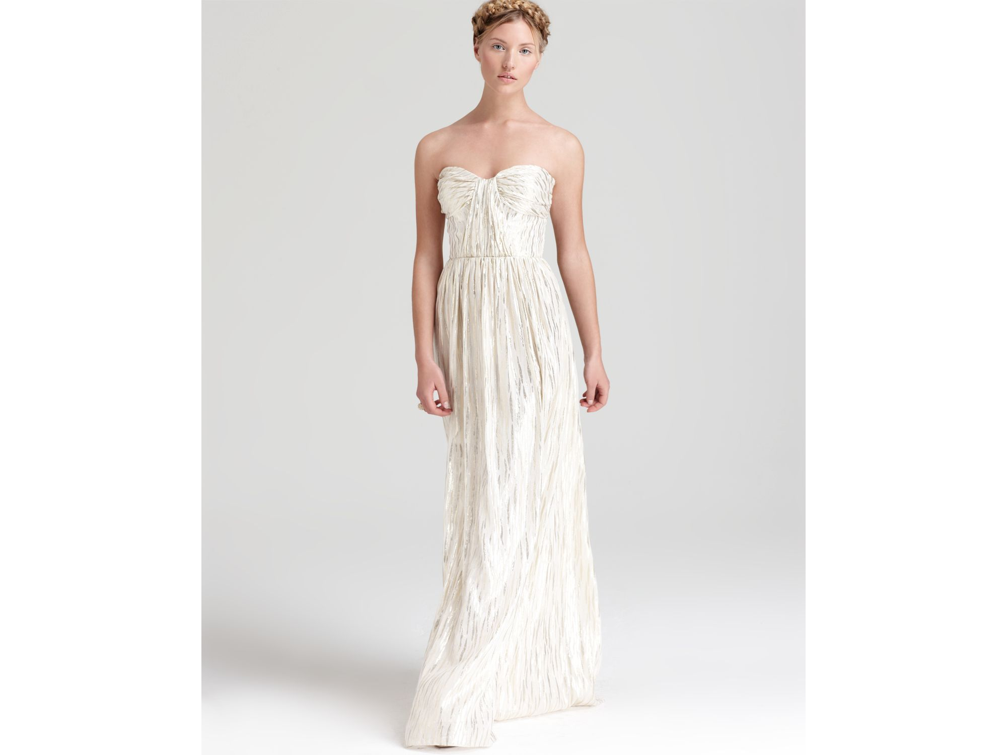 Erin erin fetherston Strapless Gown Shirred Foil in White | Lyst