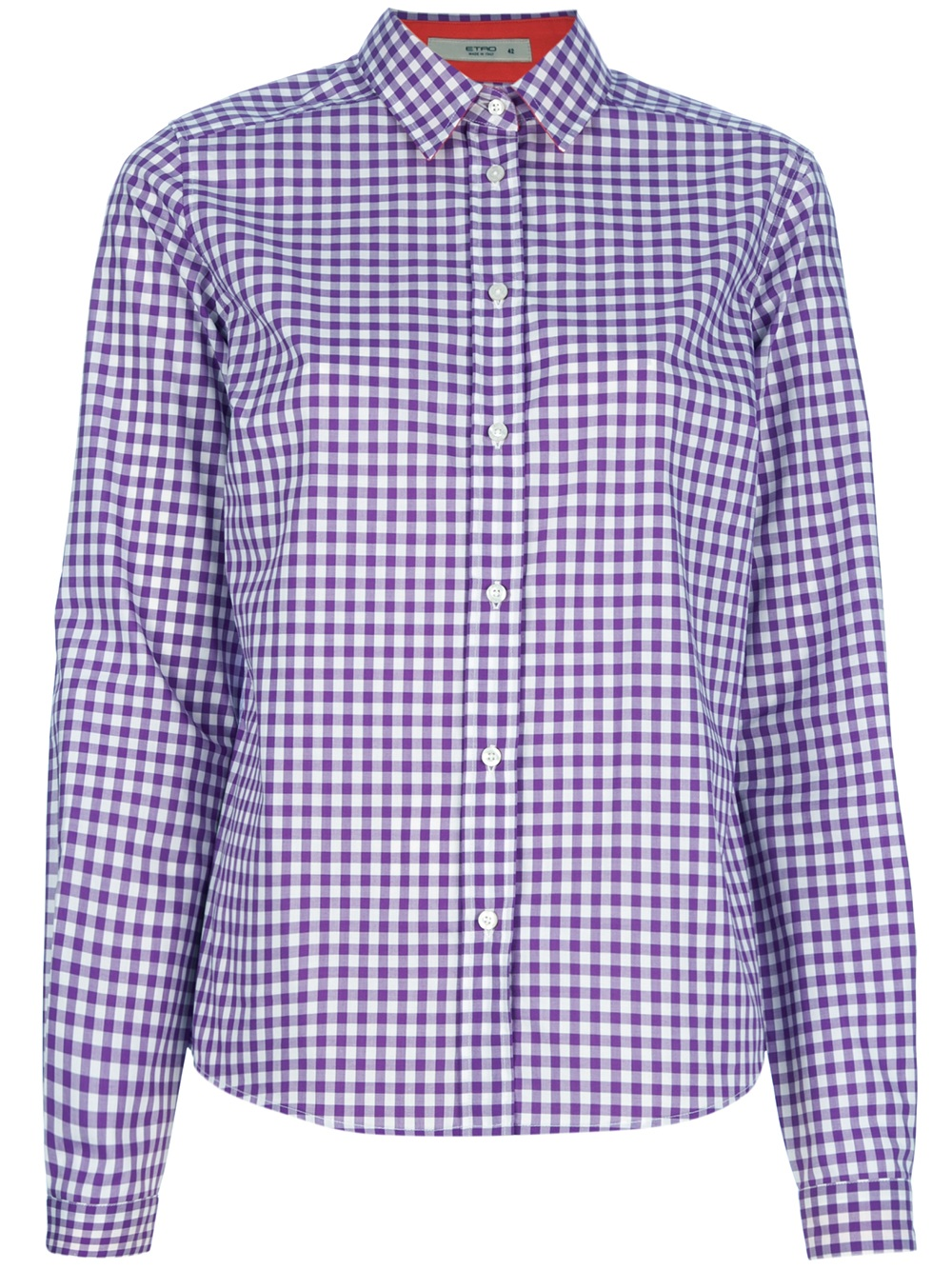 Etro gingham shirt in purple white lyst for Purple and white checked shirt