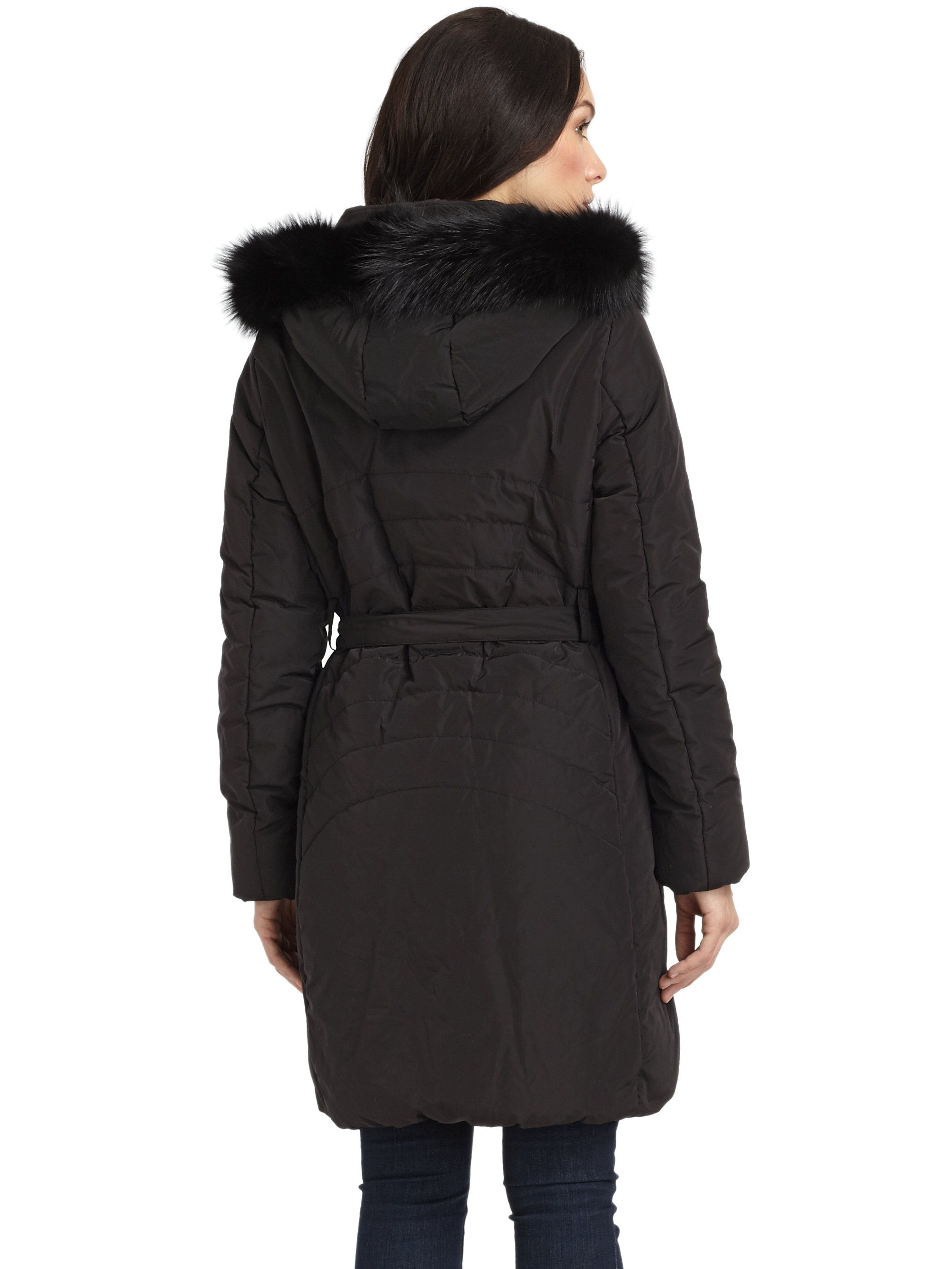 Gimo S Belted Puffer Coat In Black Lyst