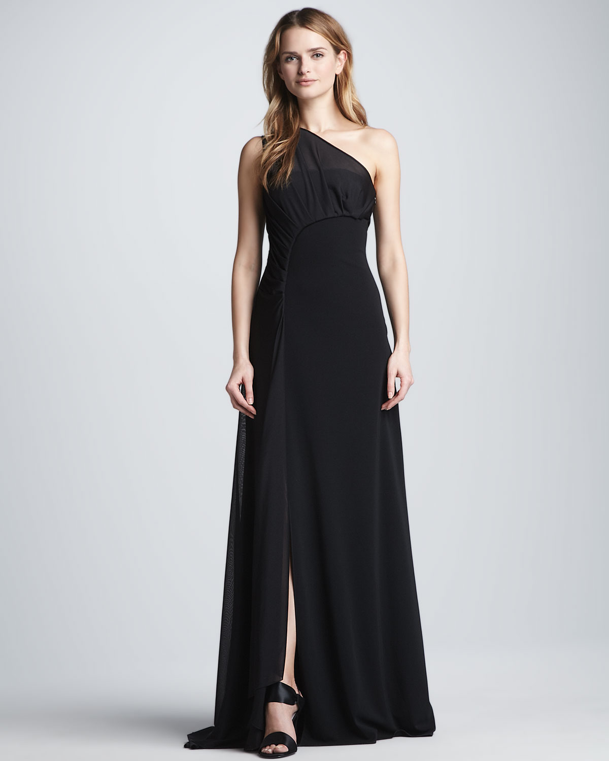 Halston One-Shoulder Gown with Sheer Overlay in Black