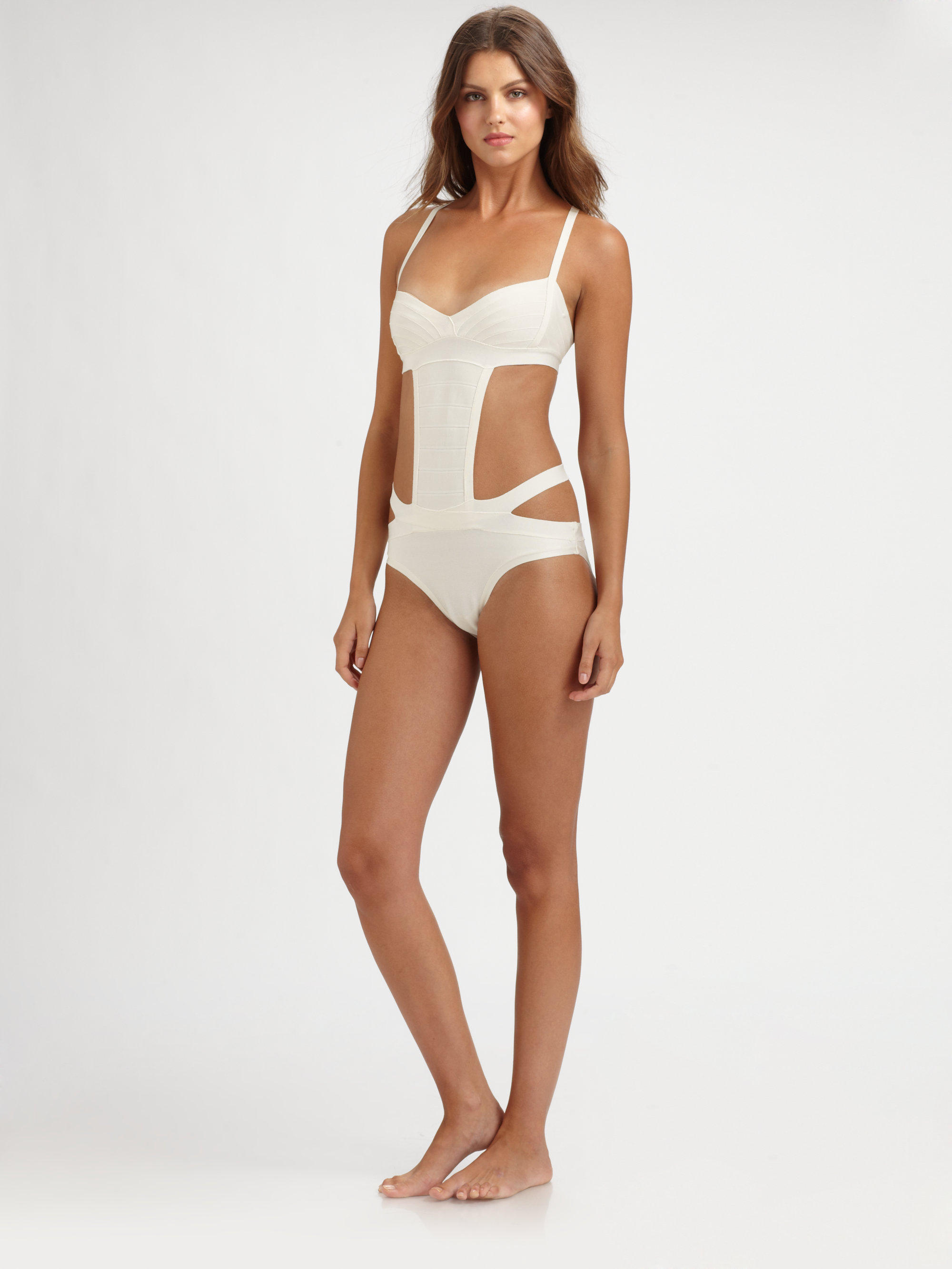 123fb2c9fdc43 Hervé Léger One Piece Strappy Cutout Swimsuit in White - Lyst
