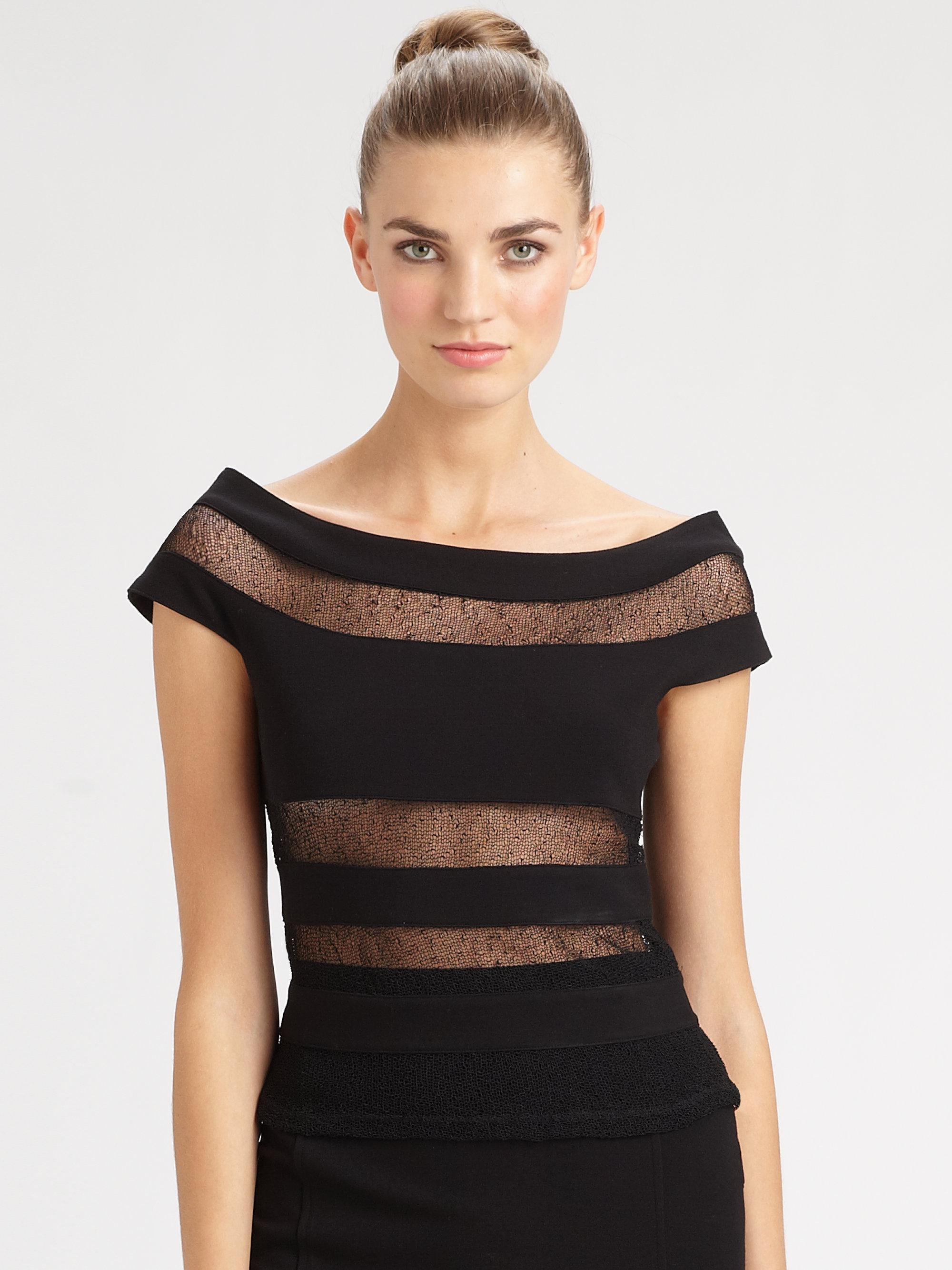 jean paul gaultier sheer stripe top in black lyst. Black Bedroom Furniture Sets. Home Design Ideas