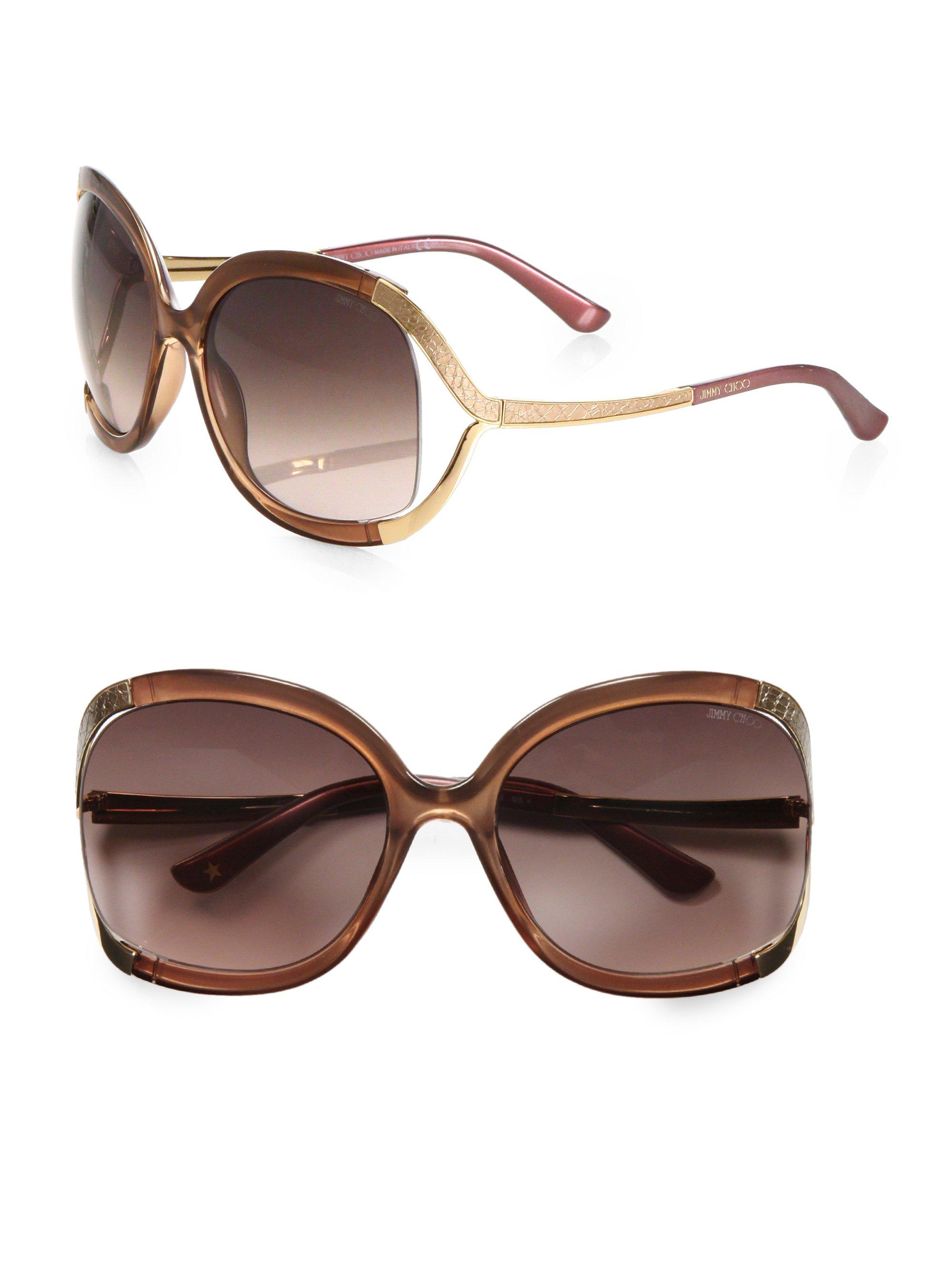 22b061766353 Jimmy Choo Beatrix Square Sunglasses in Brown - Lyst
