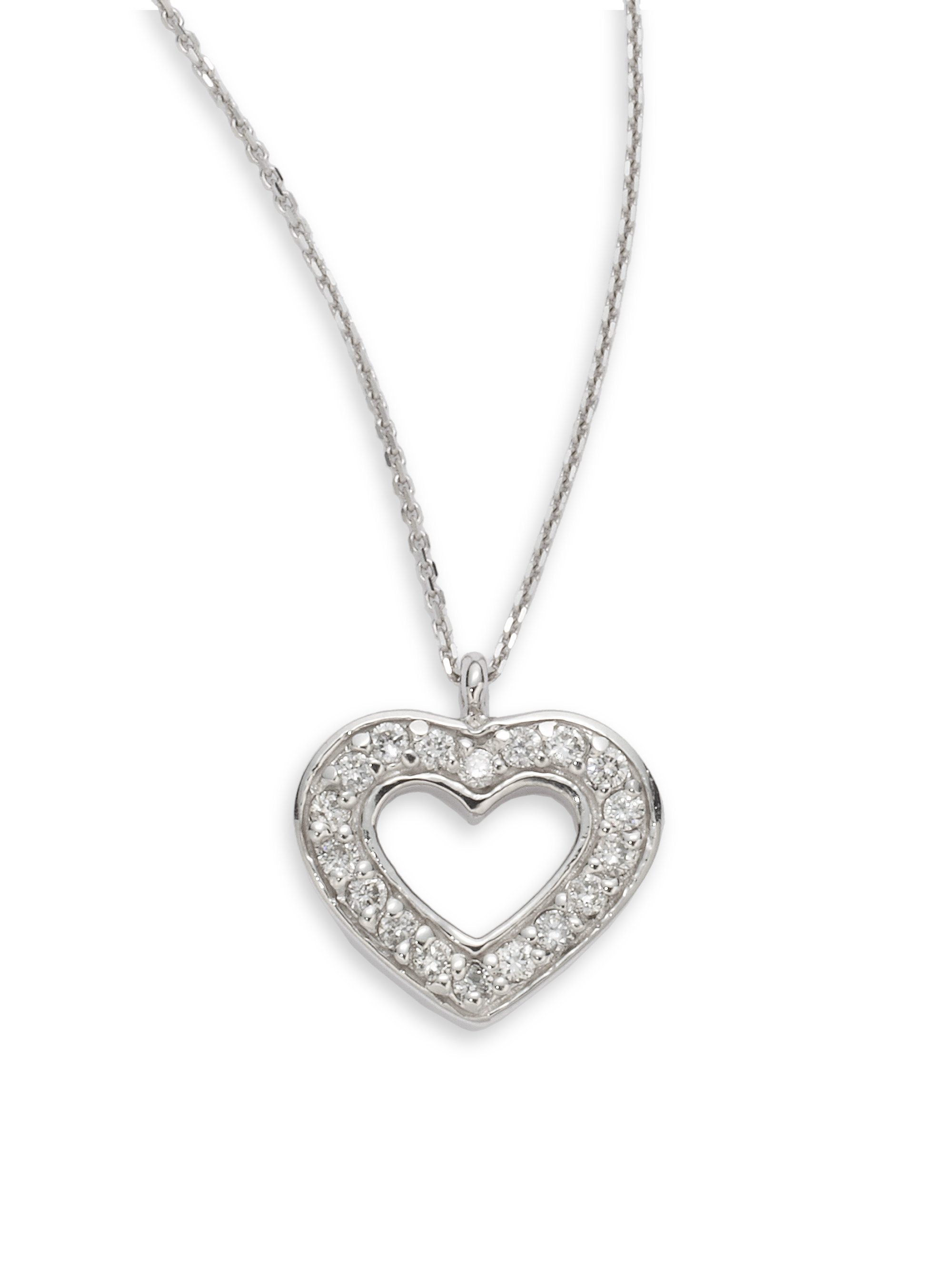 Kc designs Diamond Open Heart Pendant Necklace in Metallic
