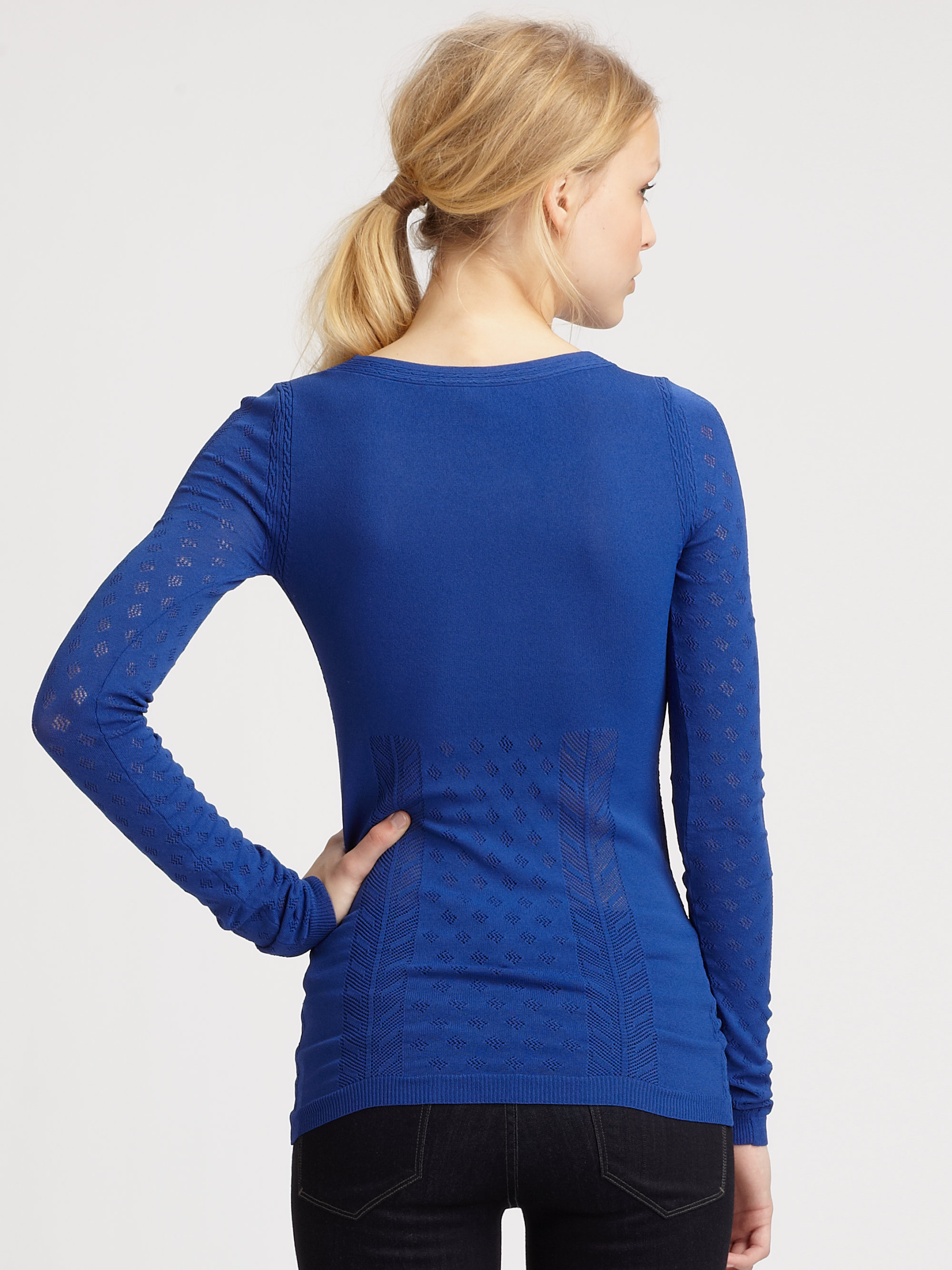 marc by marc jacobs retton pointelle sweater in blue lyst. Black Bedroom Furniture Sets. Home Design Ideas