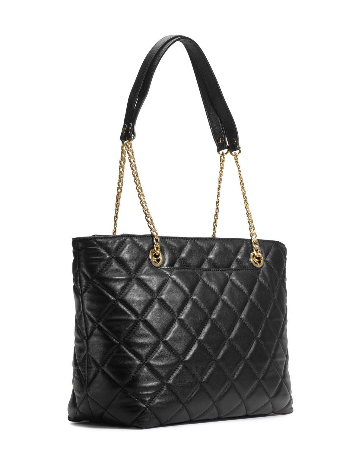 lyst michael michael kors large fulton quilted tote in black. Black Bedroom Furniture Sets. Home Design Ideas