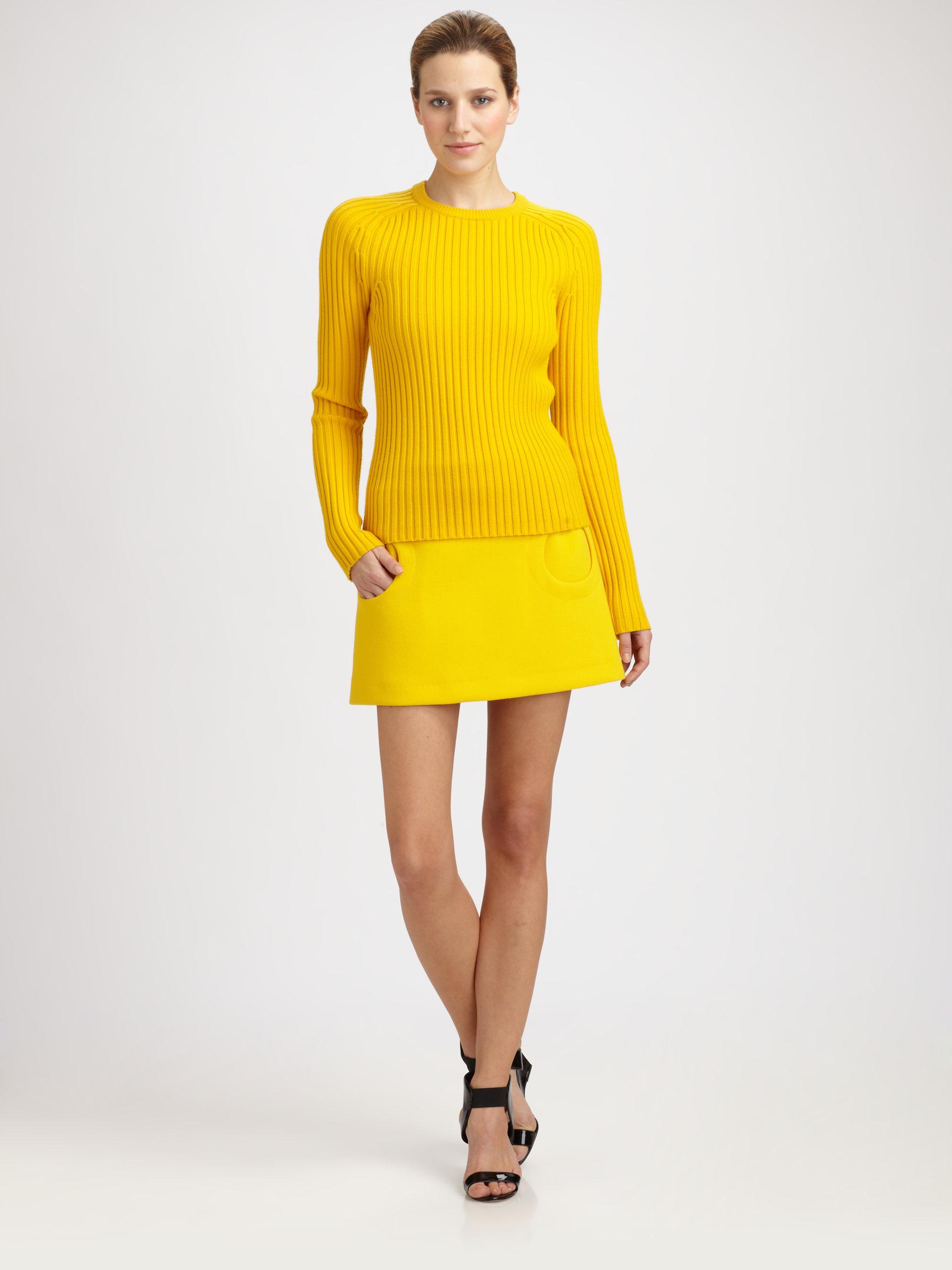Michael Kors Circle Pocket Mini Skirt In Yellow Lyst