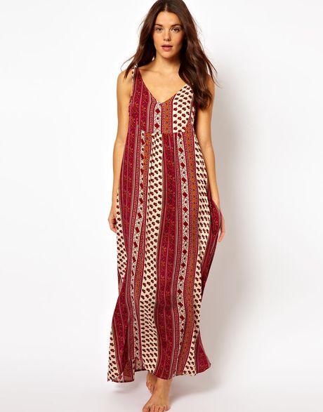 Minkpink Maya Scarf Print Beach Maxi Dress in Red (scarfprint)