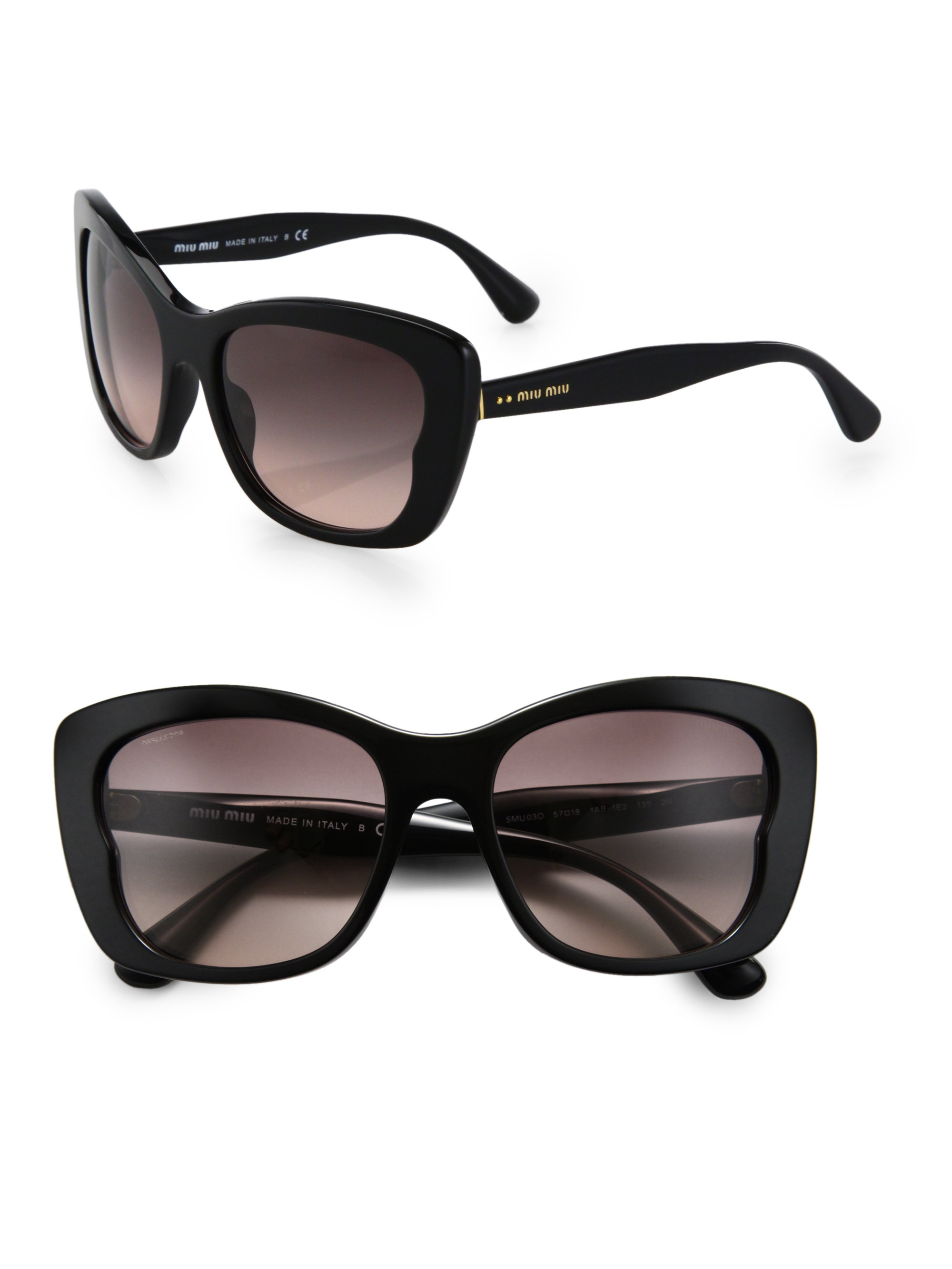 78fa7d3fec7 Lyst - Miu Miu Oversized Acetate Butterfly Sunglasses in Black