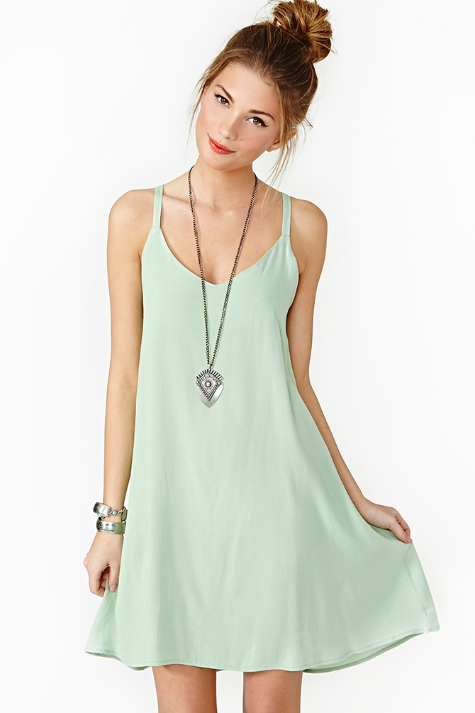Nasty gal Lace Up Dress Mint in Green | Lyst