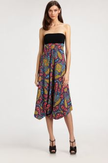 Nicole Miller Strapless Stretch Silk Dress - Lyst