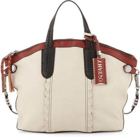 Oryany Cassie Whipstitch Convertible Tote Bag in Beige (bone)