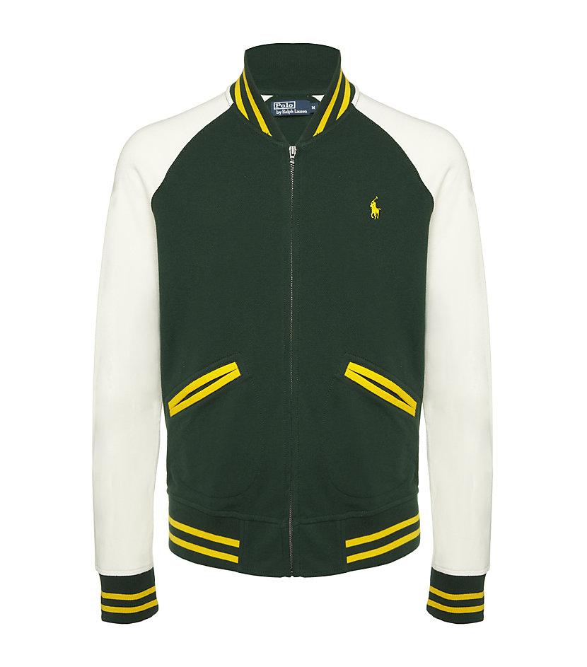 Polo ralph lauren Baseball Jacket in Green for Men | Lyst
