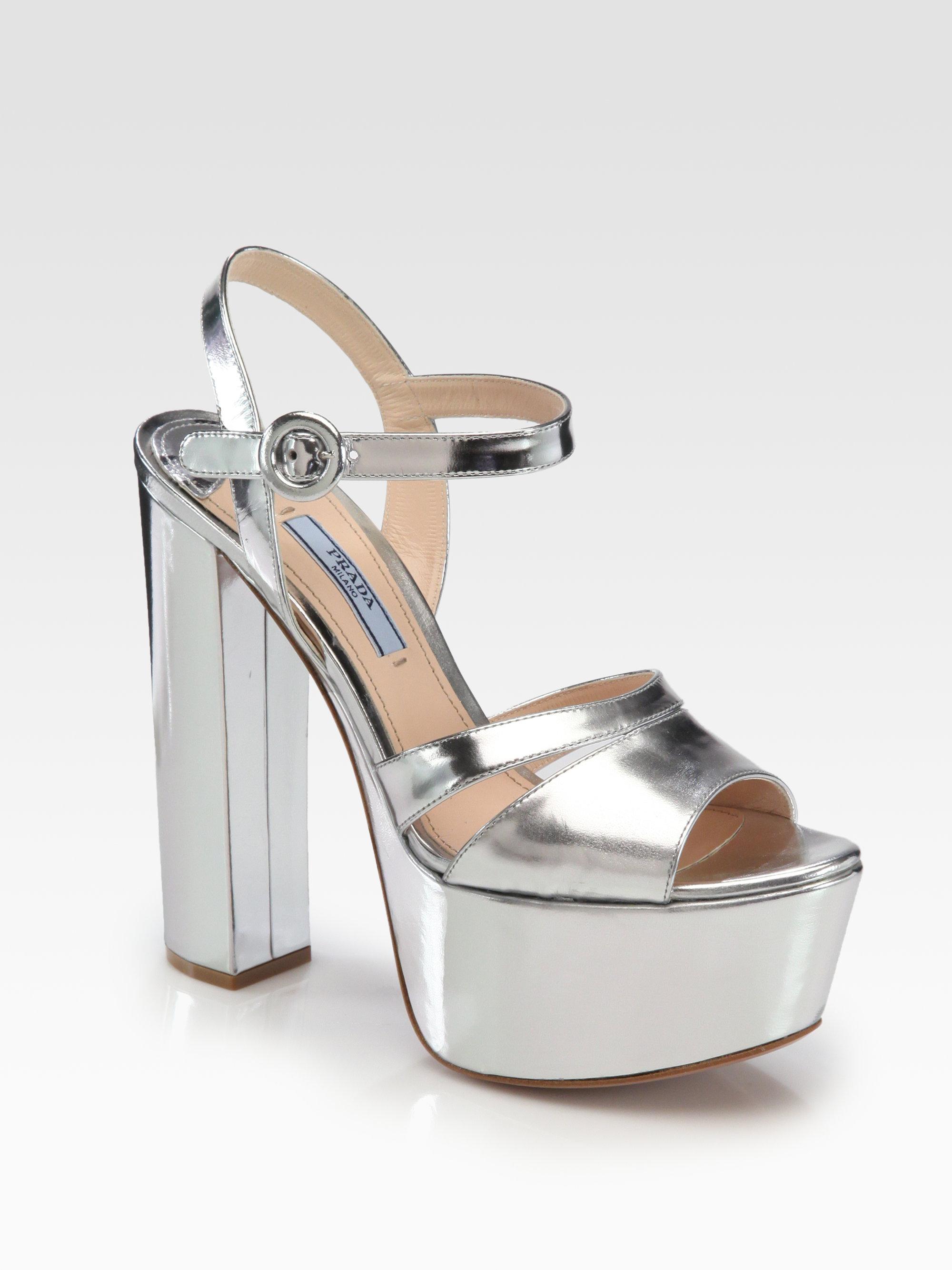 Prada Leather Platform Sandals H2Ear0J