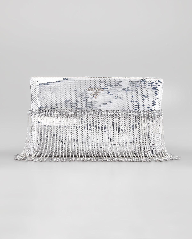4420cd7f8285 Prada Beaded Flat Clutch Bag in Metallic - Lyst
