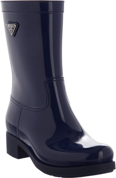Prada Pullon Rain Boot In Black Silver Lyst
