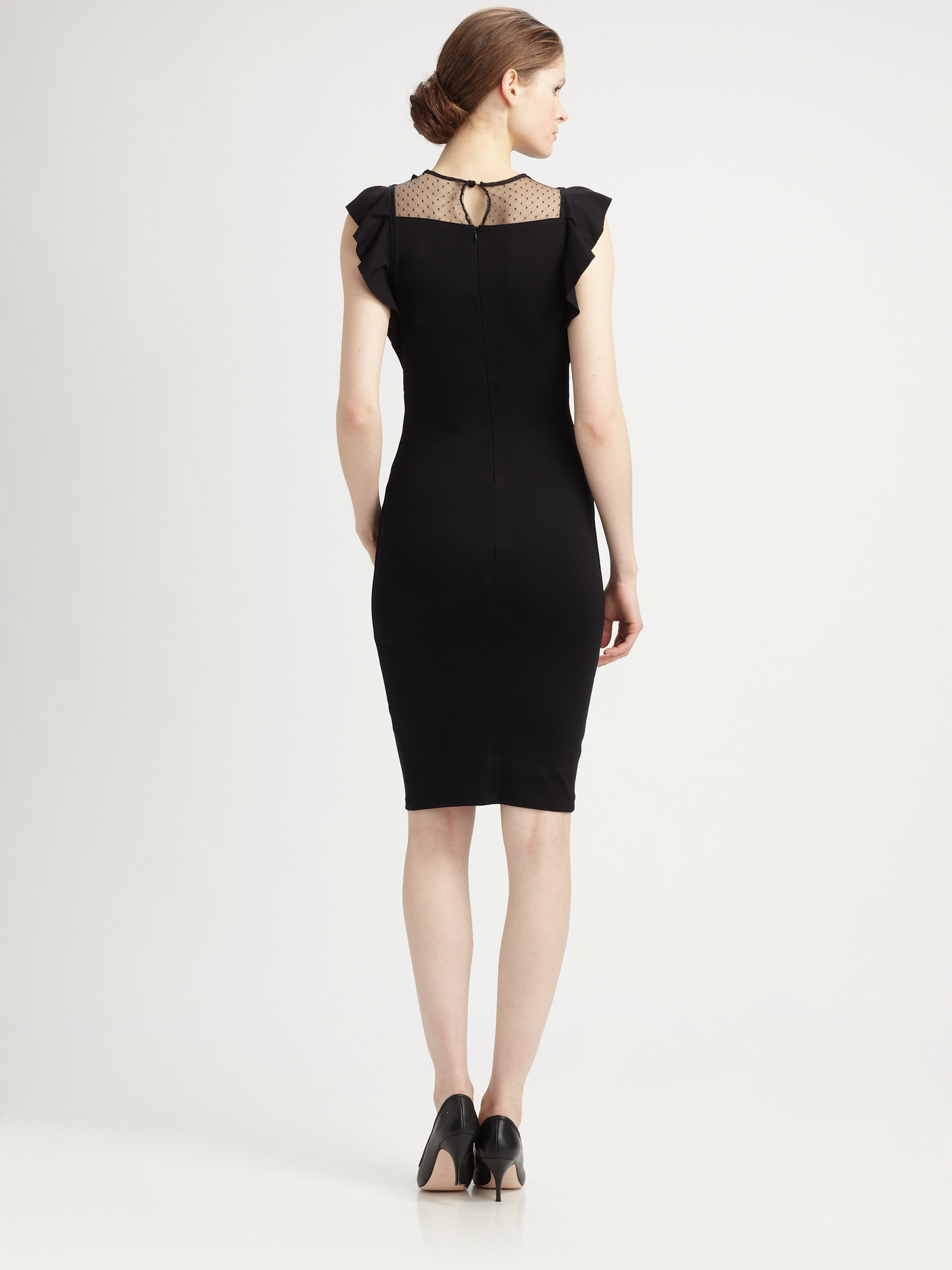 Lyst Red Valentino Bowruffle Bodycon Dress In Black
