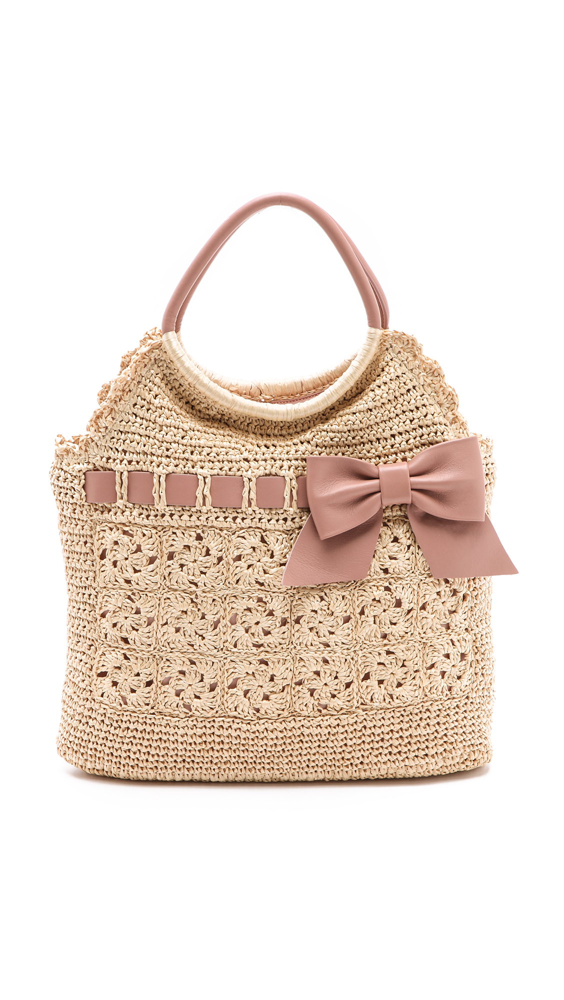 Lyst Red Valentino Crochet Raffia Top Handle Bag In Pink
