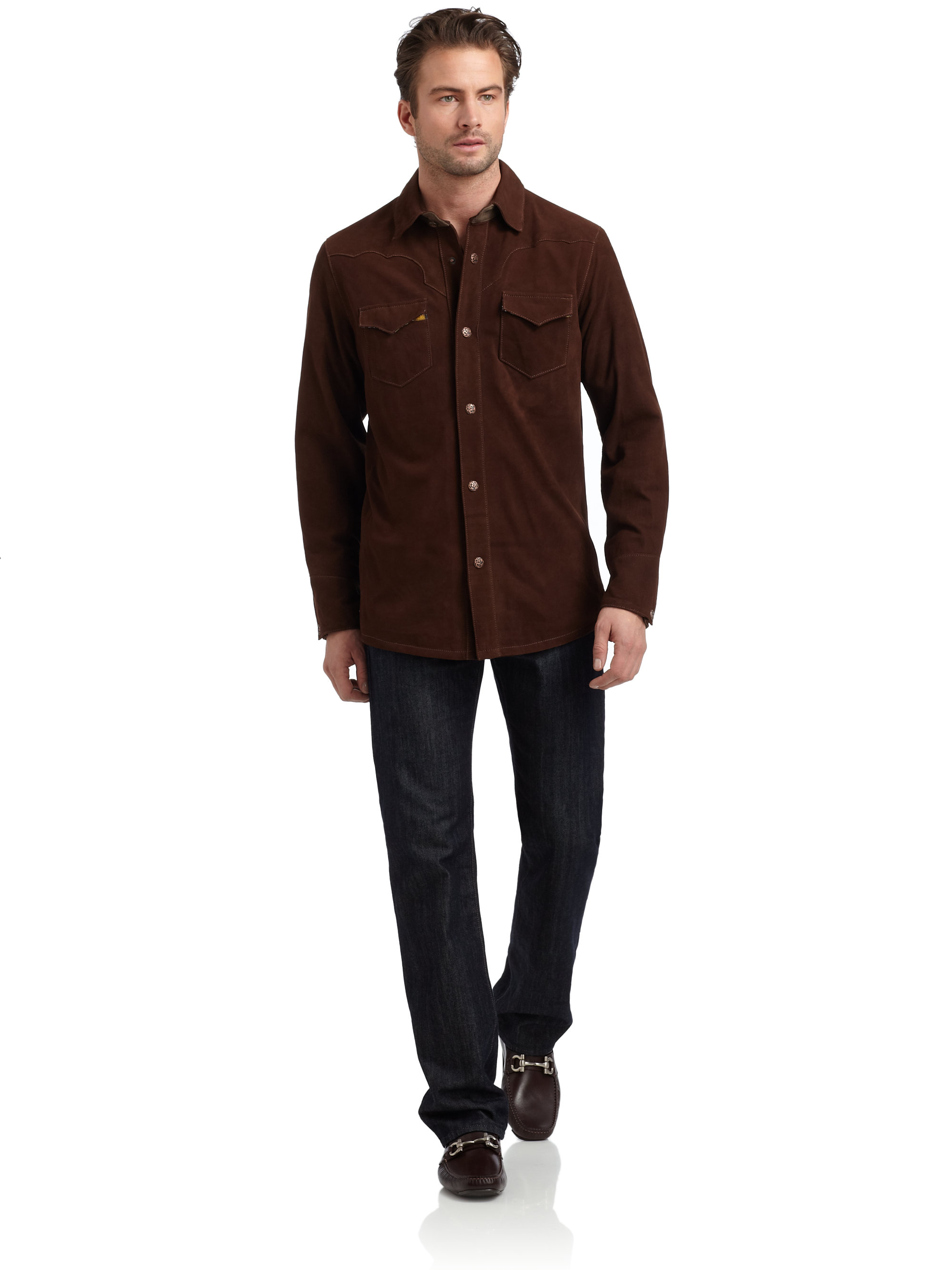 Lyst - Robert graham Suede Button Down Shirt in Brown for Men