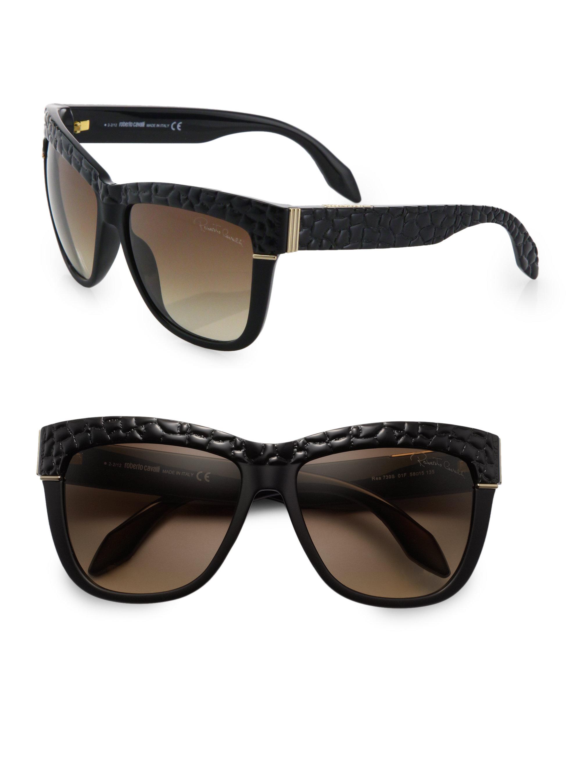 d59d215eb14 Roberto Cavalli Snake Embossed Square Sunglasses in Black - Lyst