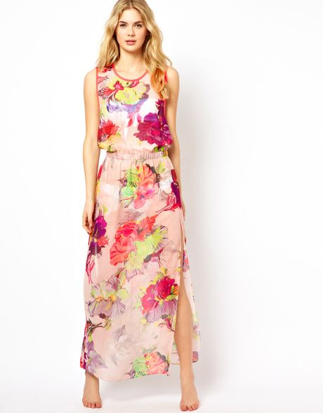 Ted Baker Twist Back Maxi Cover Up in Multicolor (multifloral)