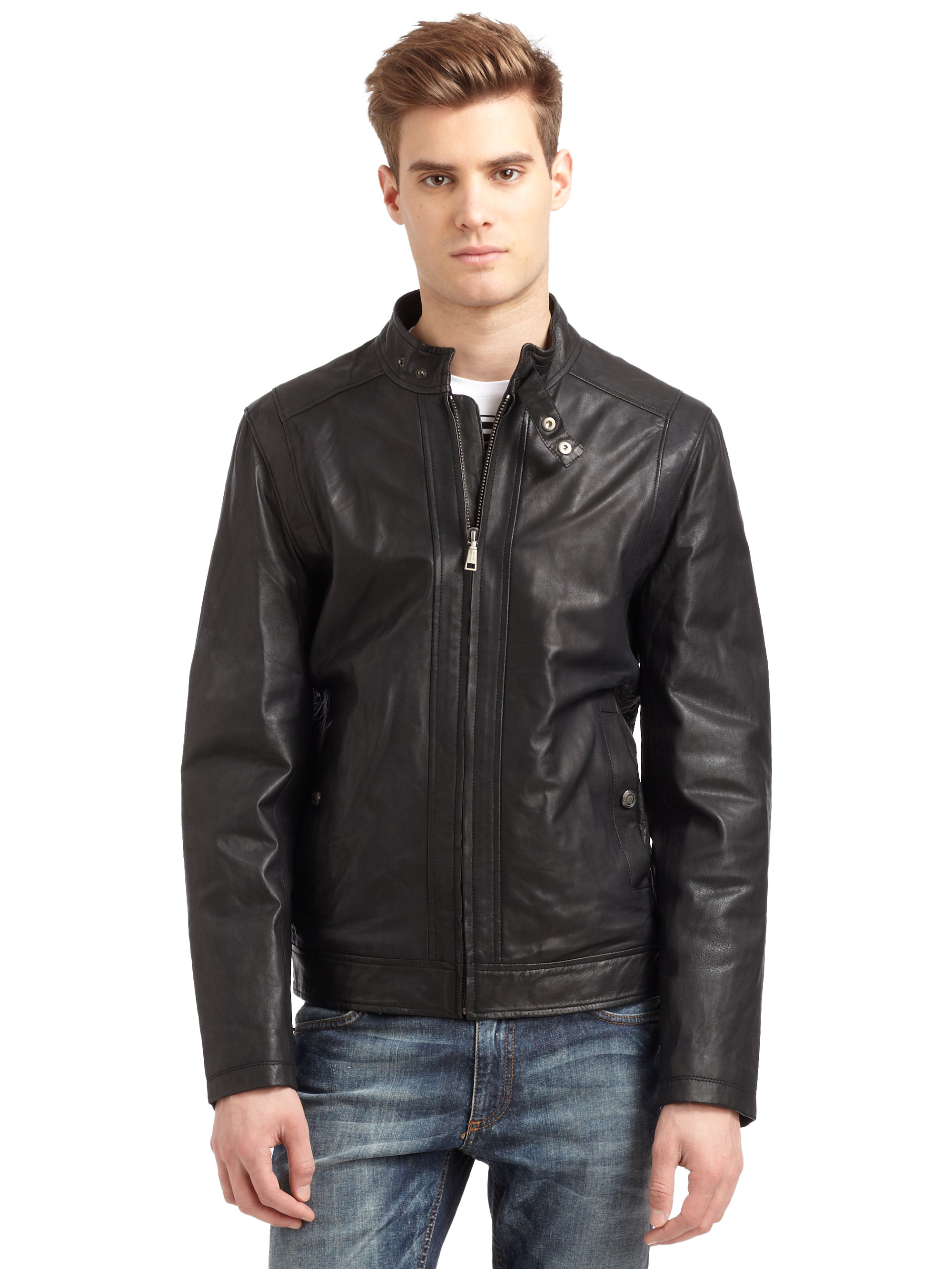 Versace Jeans Variegated Leather Jacket In Red For Men Lyst