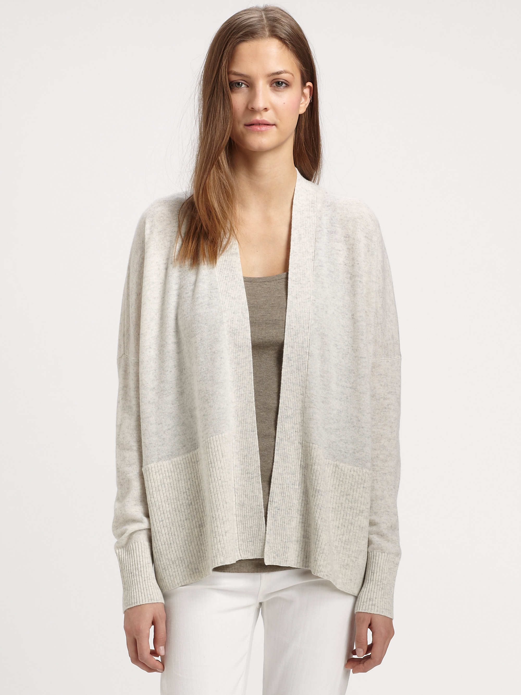e5ba530b11 Lyst - Vince Open-front Cashmere Cardigan in Metallic