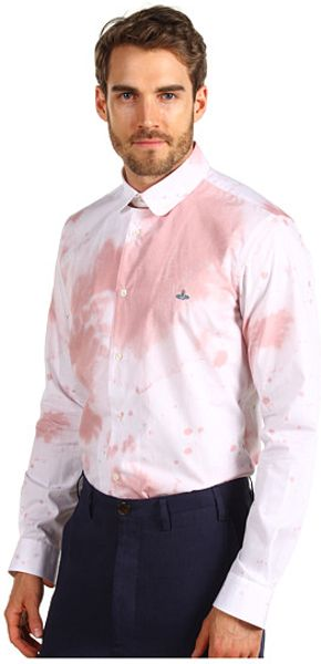 Vivienne westwood man wine stain poplin shirt in pink for for Wine stain white shirt
