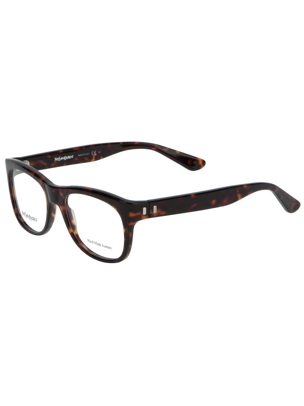 80f690797ca36 Saint Laurent Tortoise Shell Glasses in Brown - Lyst