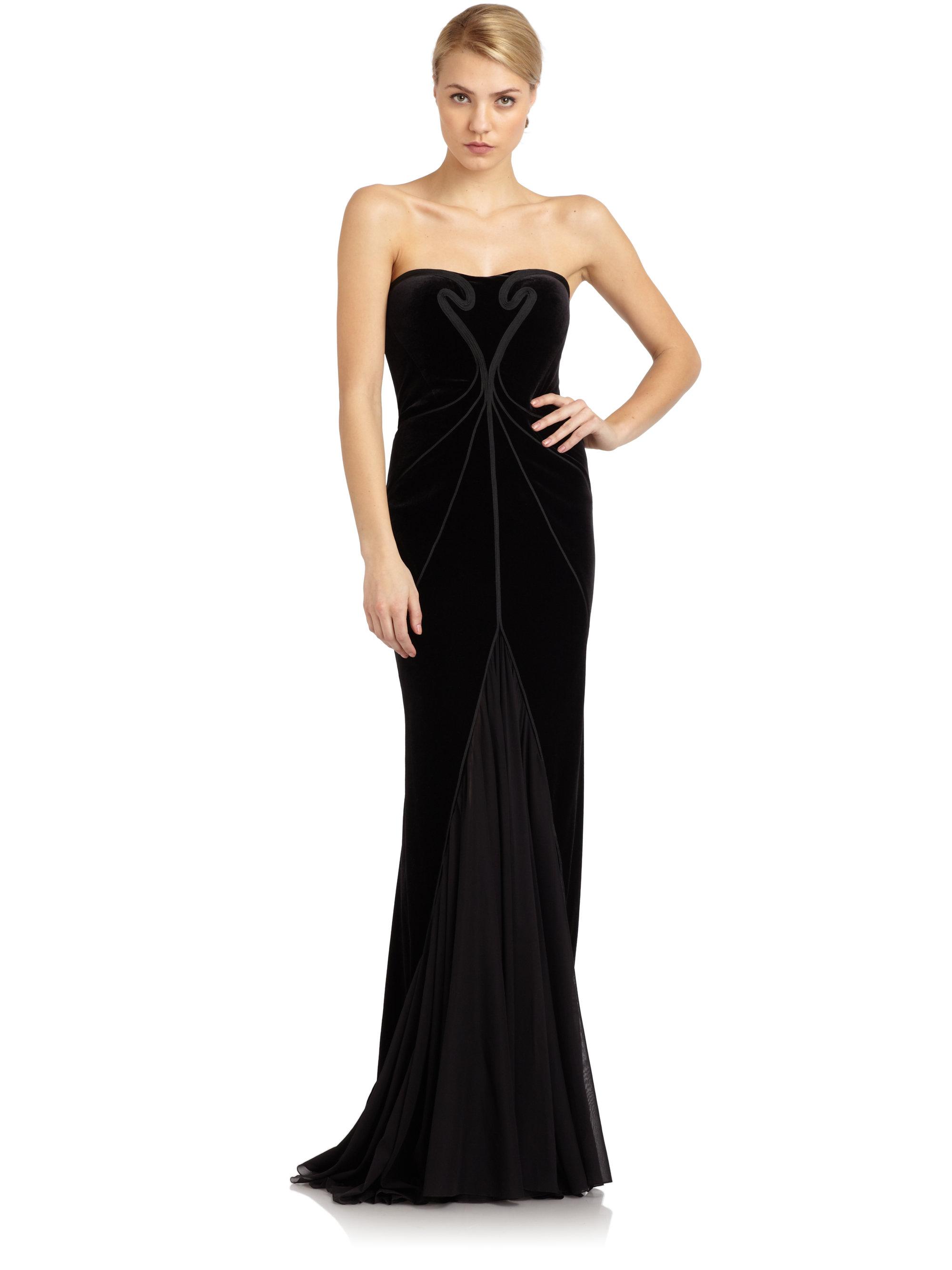Zac posen Velvet Strapless Gown in Black - Lyst
