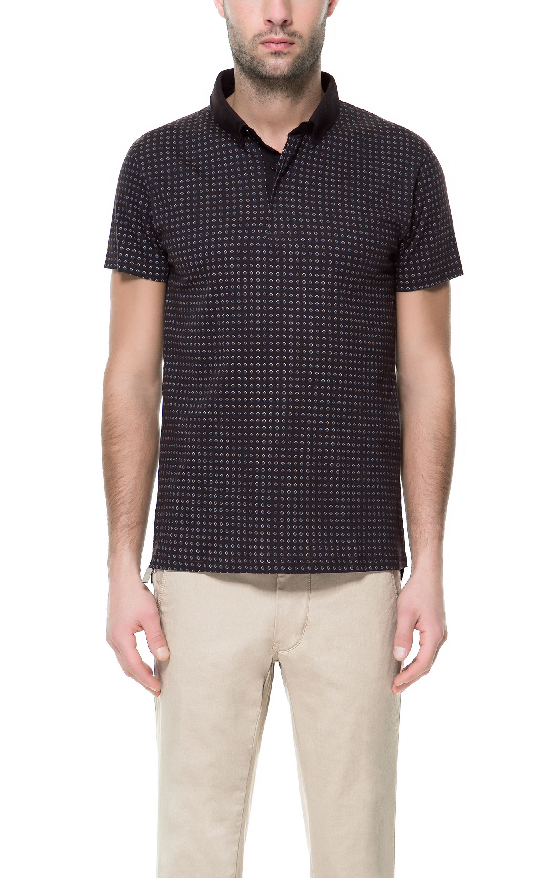 Zara printed patterned polo shirt in gray for men for Zara mens shirts sale