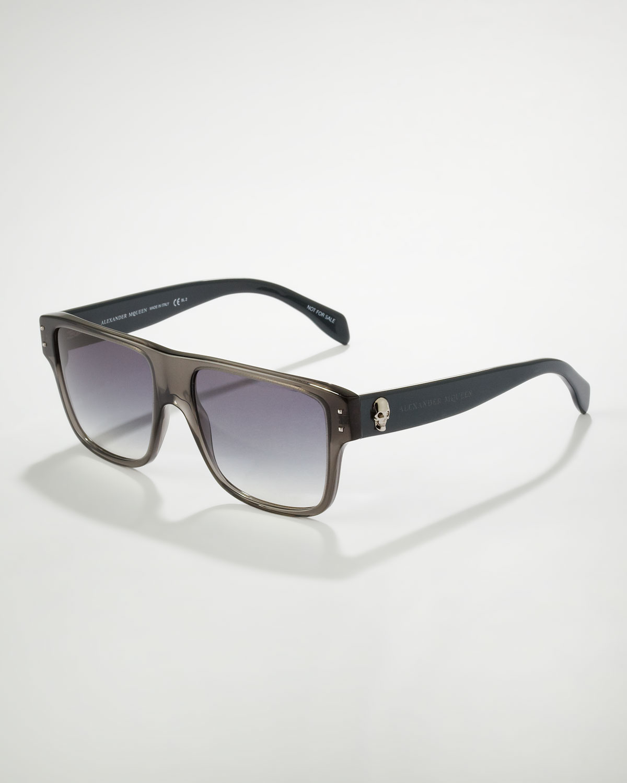 Lyst - Alexander Mcqueen Square Skull Frame Sunglasses Gray in Black