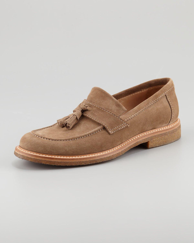 419323d6100 Brunello Cucinelli Suede Tassel Loafer in Brown for Men - Lyst