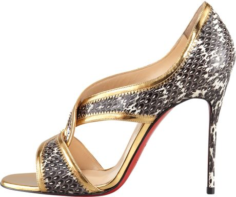 Christian Louboutin Suzanna Snake Red Sole Sandal In Gold