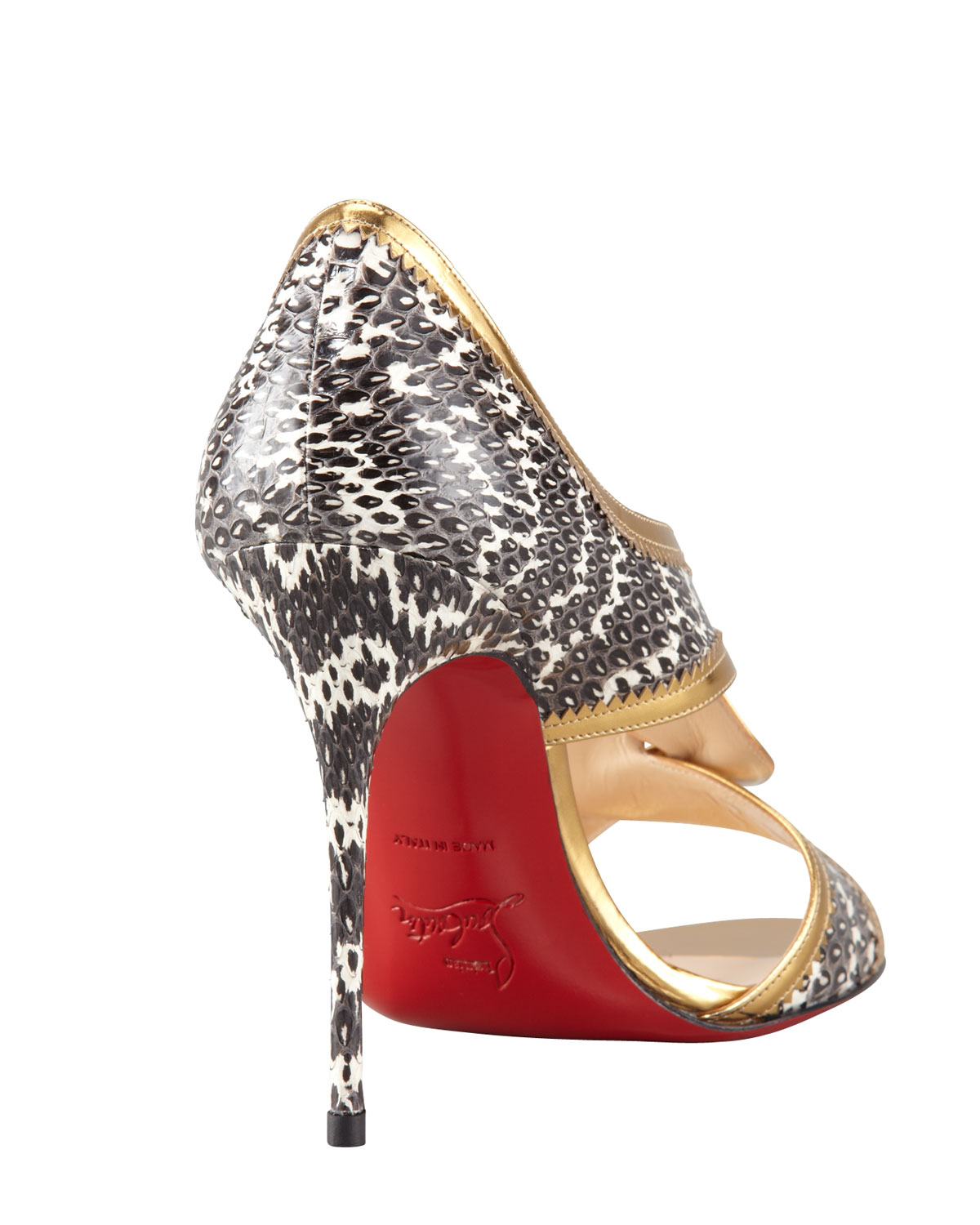 b672eada4281 ... authentic lyst christian louboutin suzanna snake red sole sandal in  metallic e98f6 4b3a7