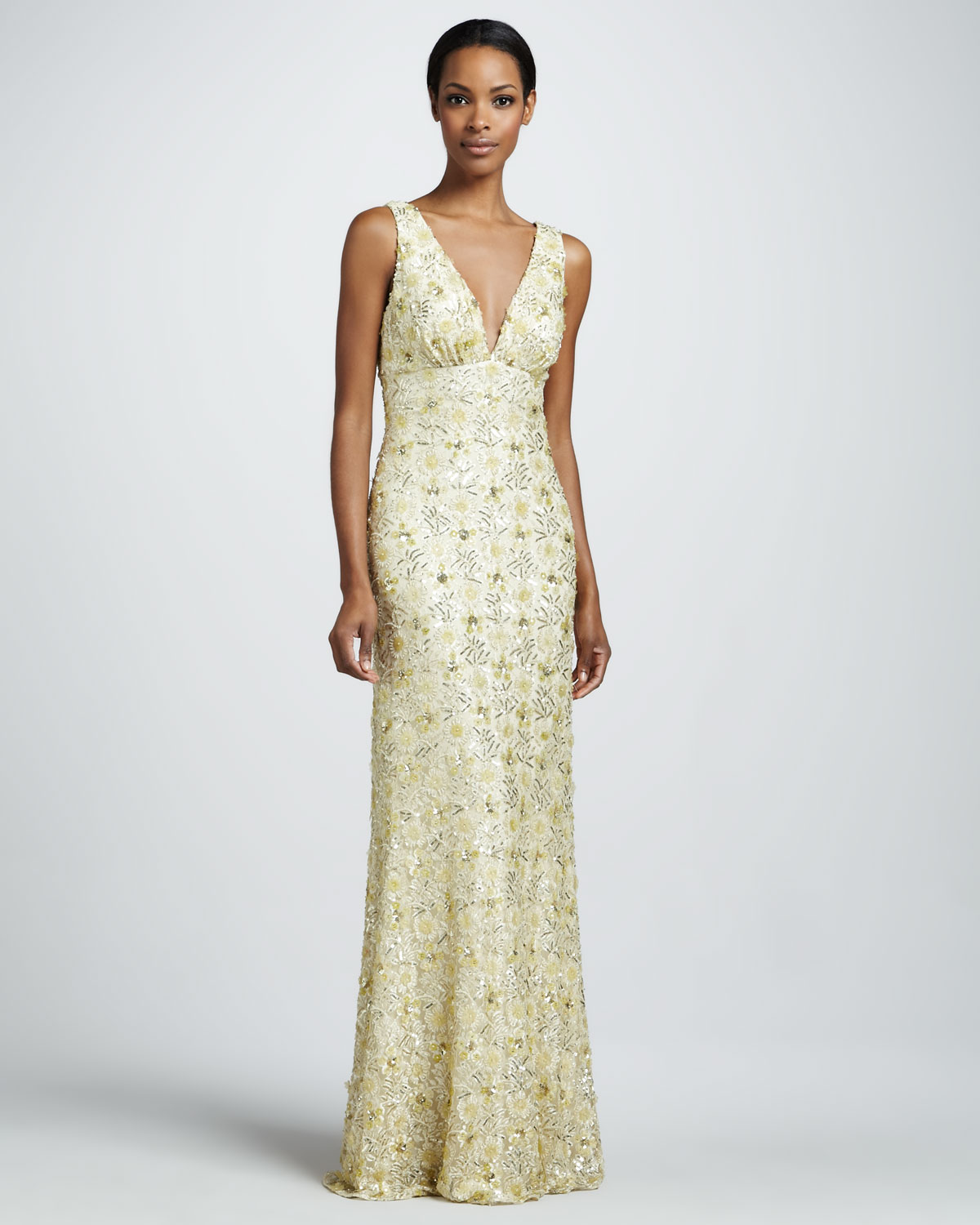 David meister beaded v neck gown in metallic lyst gallery previously sold at neiman marcus ombrellifo Choice Image
