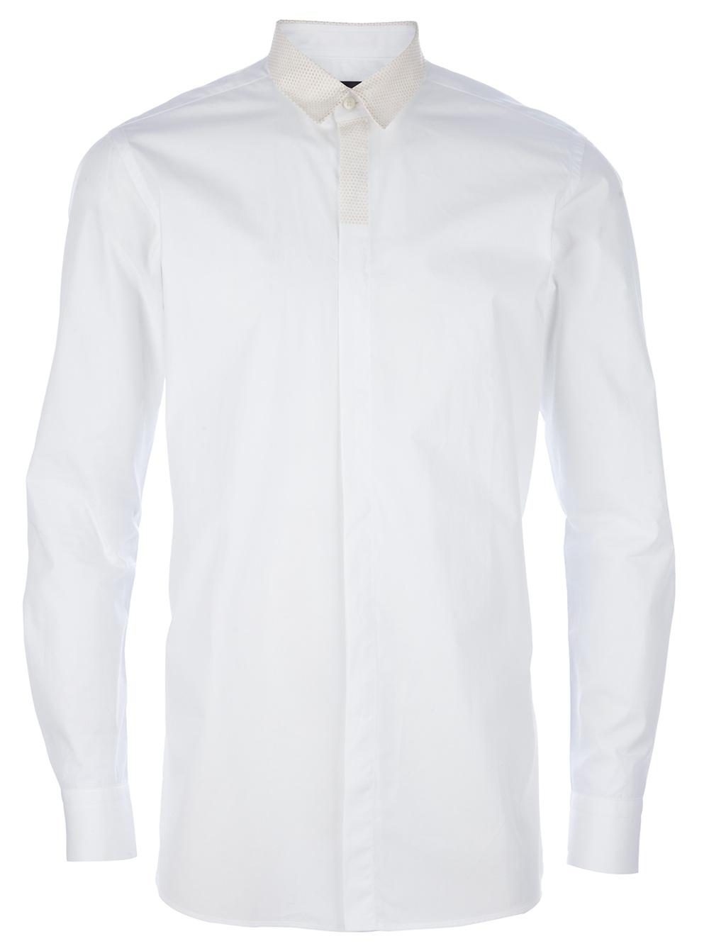 Fendi Long Sleeve Dress Shirt In White For Men Lyst