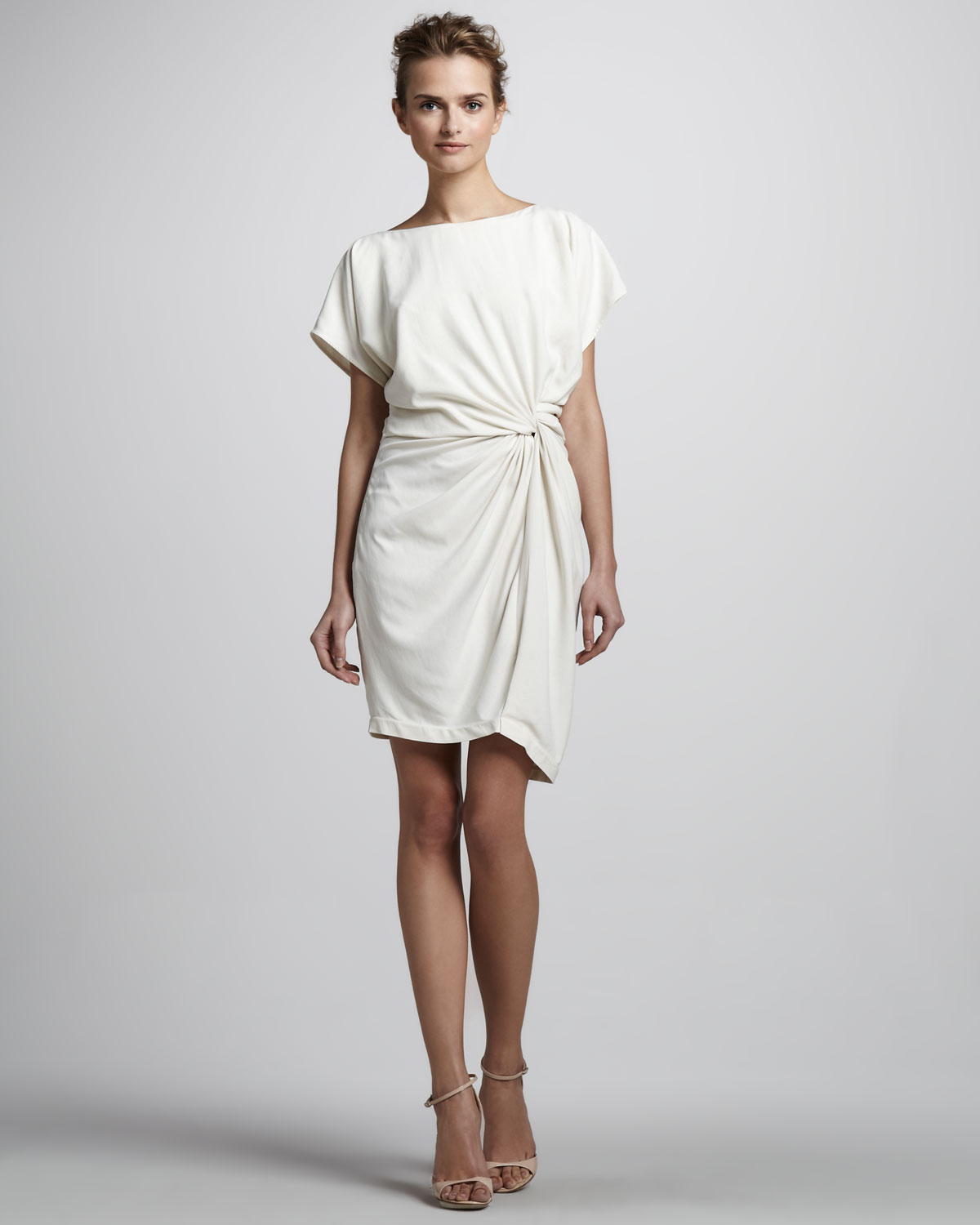 Lyst halston twisted front short sleeve dress in natural for Halston heritage shirt dress
