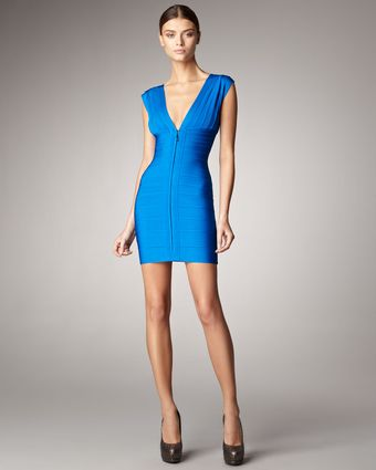 Hervé Léger Front-Zip Bandage Dress - Lyst