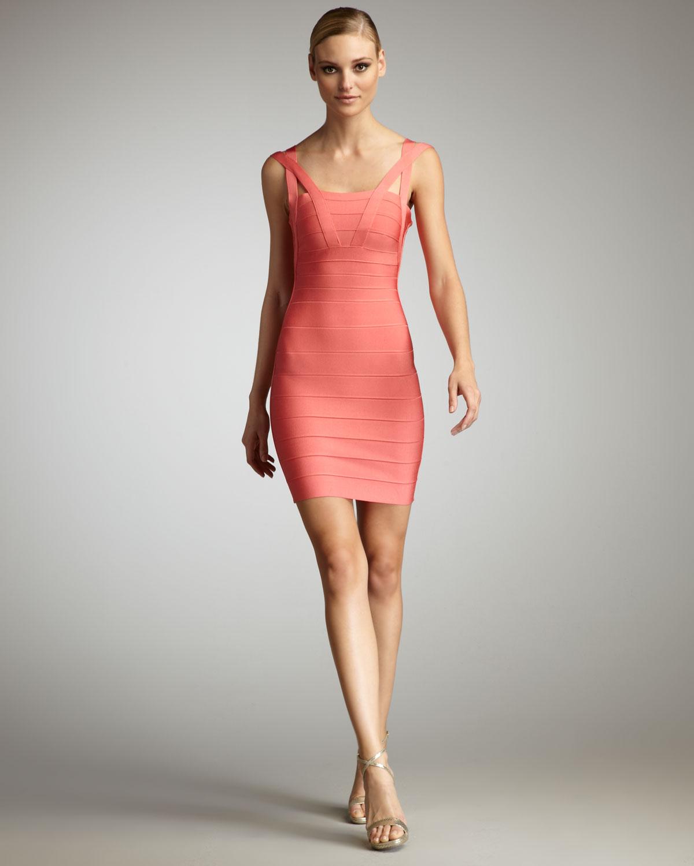 2e330e4178a Lyst - Hervé Léger Crisscross Strap Bandage Dress in Pink