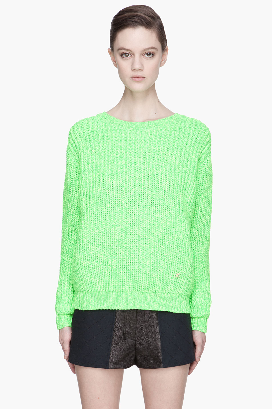kenzo fluorescent green thickknit sweater in green lyst. Black Bedroom Furniture Sets. Home Design Ideas