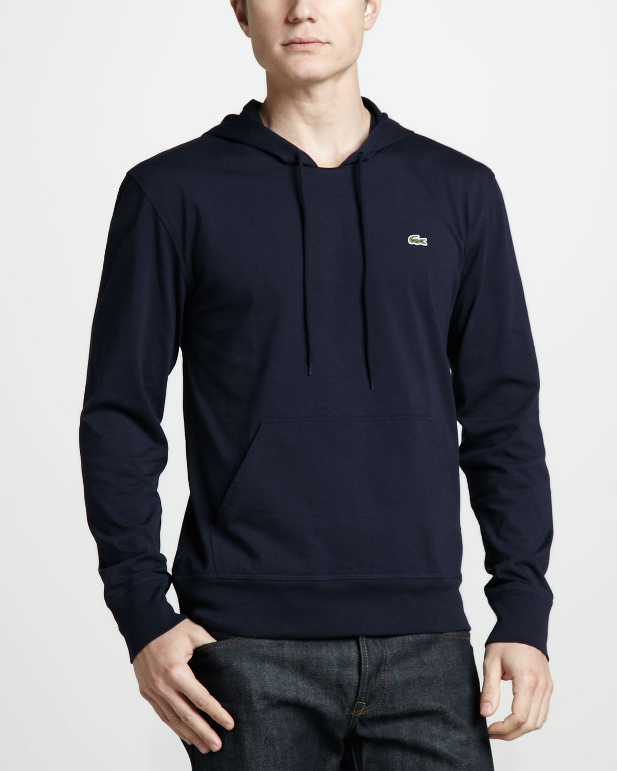 Lacoste Pullover Jersey Hoodie in Blue for Men