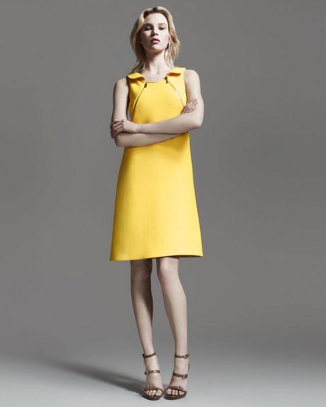 Michael Kors Zip Shoulder Crepe Dress in Yellow (sun) - Lyst