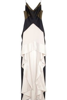 Narciso Rodriguez Pearl and Black Heavy Silk Charmeuse Dress - Lyst