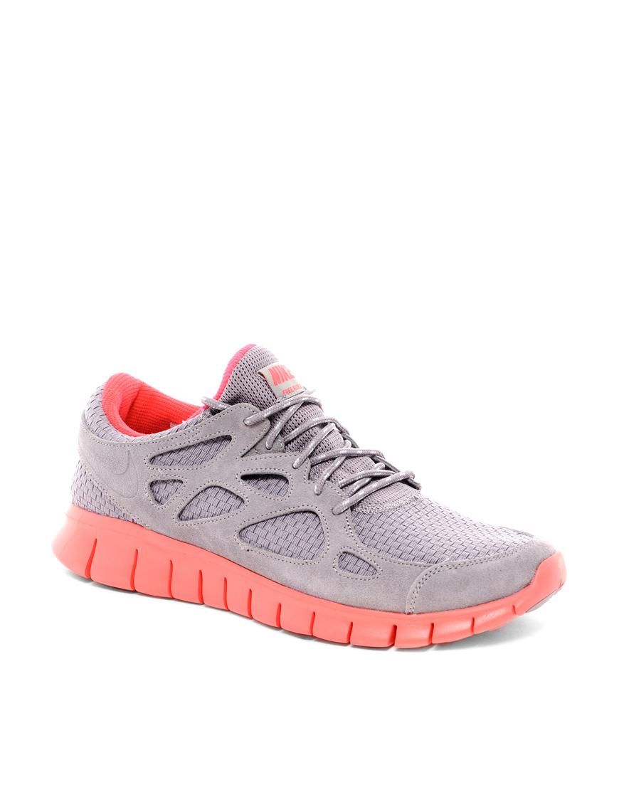 nike free run 2 trainers in gray for men grey lyst. Black Bedroom Furniture Sets. Home Design Ideas