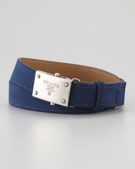 Prada Suede Belt In Gray For Men (blue/grey)